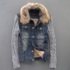 Denim jacket with sweater sleeves