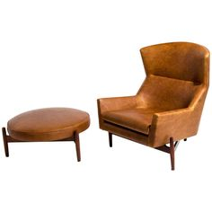 Jens Risom Lounge Chair and Ottoman | 1stdibs.com