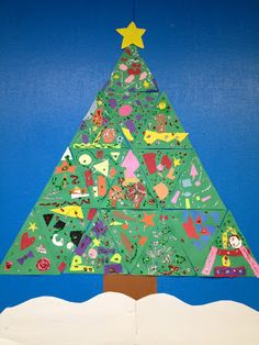 Christmas crafts: Each child decorates a green triangle. They fit together to form one big classroom tree. Easy bulletin board. LOVE this simple & fun idea. :-)