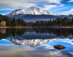 Huge Panorama Print, Snowy California Landscape Photo, Mt Shasta Reflection, Majestic Mountain Photography, Mt Shasta Decor, Peaceful Art