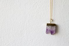 Amethyst Pendant Necklace Gold Dipped Raw / Rough Crystal by d3bz