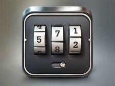Dribbble - Combination Lock iOS Icon by Rosetta Icon Design News Web Design, App Icon Design, Ui Design Inspiration, Game Design, Mobile App Icon, Ios App Icon, Design Thinking, Launcher Icon, Lock Icon