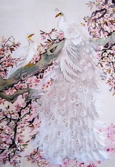 White Peacock and Peahen #Beautiful #Handmade #Silk #Embroidery #Art #Etsy 71050 https://www.amazon.com/King-Silk-Art-Handmade-Embroidery/dp/B00JWJ3PAM In Feng Shui, peacocks are protective, practitioners will often place a vase of peacock feathers near an entrance. In Chinese symbology, the number two represents love. This peacock courting his hen, symbolize a secure, beautiful and harmonious marriage. Or, for single people, peacock images are a love cure to help attract true love.