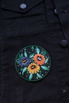 "3.5"" embroidered patch with merrowed border and iron-on backing. Follow the instructions below to affix this patch to a garment of your choosing (click to enlarge)! For items that will be washed, sewi"