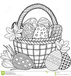 Black and White Doodle Easter Eggs in the basket. Coloring book for adults for relax and meditation. Vector isolated elements eggs black and white Happy Easter Black White Doodle Easter Stock Vector (Royalty Free) 609944156 Easter Coloring Pages, Colouring Pages, Free Coloring, Adult Coloring Pages, Coloring Books, Black And White Doodle, Black White, Easter Printables, Egg Decorating