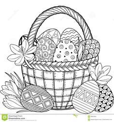 joyeuses-pâques-oeufs-de-pâques-noirs-et-blancs-de-griffonnage-dans-le-panier-livre-de-coloriage-pour-des-adultes-pour-88825954.jpg 1,300×1,390 pixels