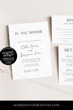 Modern Minimalist Roman Numeral Wedding Invitations