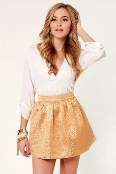 golden skirt - white shirt