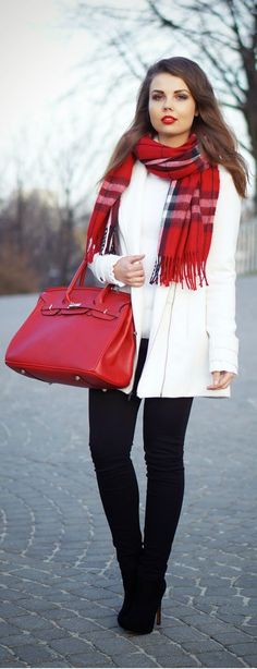 Classic Oversized Scarf & Pop Red Leather | Women's Street Fashion