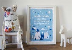 Blue Twinkle Twinkle. A4 print. Design Sara Vestberg.
