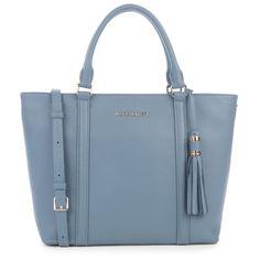 Slate Blue handbag, Mademoiselle Ana, Lancaster Paris. #blue #bag #pastel #sac #pompom #mademoiselle #lancasterparis #lancaster