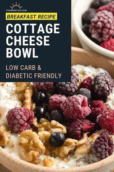 Make this cottage cheese breakfast bowl for a protein rich breakfast that you'll love! Suitable for low carb diets, keto diet, and is diabetic friendly. Protein Rich Breakfast, Sweet Breakfast, Low Carb Breakfast, Breakfast Bowls, Cottage Cheese Breakfast, Cottage Cheese Recipes, Best Breakfast Recipes, Brunch Recipes, Breakfast Ideas For Diabetics