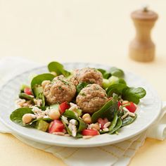 Good Housekeeping: Orzo Salad with Chicken Meatballs - a leaner version of spaghetti & meatballs this dish is served on a bed of spinach & whole wheat orzo.