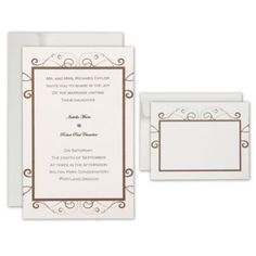 Ivory Brown Scroll Printable Wedding Invitations Kit - Party City