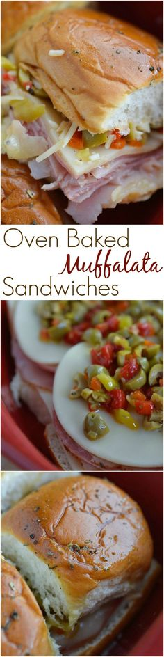 Would leave off olive salad! Muffalata Oven Baked Sandwiches - This Italian Sandwich is loaded with meat, cheese and olive salad. A New Orleans favorite, baked in the oven and perfect for feeding a crowd! Sandwich Bar, Roast Beef Sandwich, Best Sandwich, Soup And Sandwich, Sandwich Recipes, Salad Recipes, Baked Sandwiches, Wrap Sandwiches, Italian Sandwiches