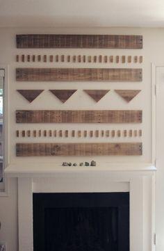 Wooden mantle art or headboard! Mantle Art, Wooden Mantle, Diy Mantel, Cottage Design, House Design, Palette Deco, Sweet Home, Diy Casa, My New Room