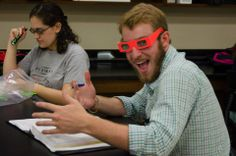 Who's excited about having prism glasses? This guy!  #science #PhysEd #TennesseeTech