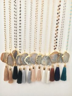 A personal favorite from my Etsy shop https://www.etsy.com/listing/244590466/popular-agate-tassel-necklace-long