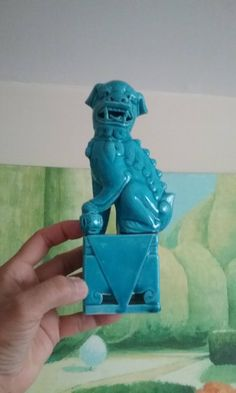 Vintage Turquoise Blue Ceramic Foo Dog Statue Figurine Asian Hollywood Regency Signa Mark Symbol At Bottom