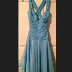 Handkerchief Island blue Handkerchief dress Island blue color crisscross straps with tiny rhinestones on the front of the strap made out of tTull and satin Dresses Prom
