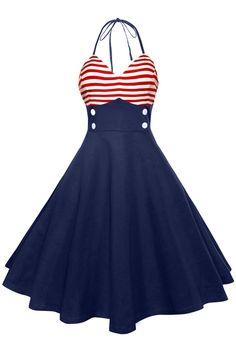 $13.77 American Flag Halter Vintage Dress
