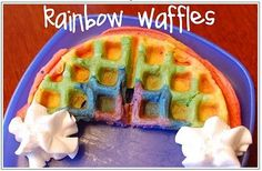 Rainbow waffles-- too bad we have a square waffle iron!