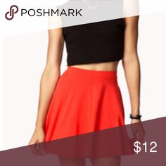 "Red Skater Mini Skirt Excellent condition.  Red mini skater skirt with elastic waist.  Approximate measurements laying flat:  waist (un-stretched) 13"", stretched 16"", length 15"". Forever 21 Skirts Circle & Skater"
