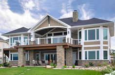 Basement House Plans, Lake House Plans, Ranch House Plans, Craftsman House Plans, Walkout Basement, Craftsman Style, Garage Extension, Double Entry Doors, Outdoor Living Areas