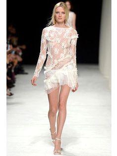 5k Auth Nina Ricci Runway White Tulle Trim On Bridal Lace Dress Fr 36