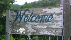 "Our rustic ""Welcome"" sign at Justin Trails Resort near Sparta Wisconsin www.justintrails.com"