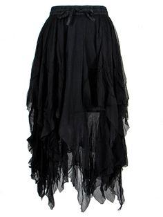 Dark Star Plus Size Gothic Black Lace Net Multi Tier Witchy Hem Skirt S-2X #DarkStar #GothicTiered