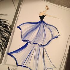 """Sketch of the day: layered organza silk gown. Sketch prints and originals available at ChristianSiriano.com #cssketch"""