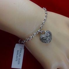I'm auctioning 'Vintage Marcasite Heart Charm Platinum Plated Sterling Silver Bracelet' on #tophatter