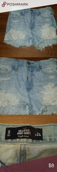 Hollister high rise short shorts with lace Distressed high rise, short,shorts, with lace design. Sexy and perfect with a crop top! Hollister Shorts