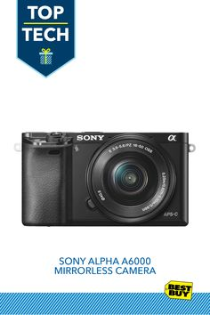 Sony Alpha a6000 Mirrorless Camera with 16-50mm Retractable Lens :: Wrap up this camera and help your giftee capture brighter moments in stunning clarity. Equipped with a 16-50mm lens, this mirrorless camera is lightweight while still providing exceptional quality whether it's capturing candid holiday smiles in 24.3-megapixel beauty or full-action video in HD. Plus, built-in Wi-Fi and Bluetooth make it easy to share photos with family and friends, no matter where they are.
