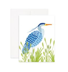 Great Blue Heron Greeting Card Printed on 100% recycled paper. Blank inside, perfect for any occasion.
