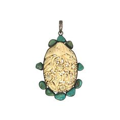 Pre-Owned Large Carved Bone & Turquoise Pendant ($429) ❤ liked on Polyvore featuring jewelry, pendants, preowned jewelry, carved jewelry, bezel jewelry, floral pendant and white pendant