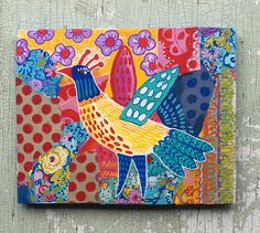 Modern Folk Art Patch Work Collage Bird