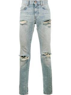SAINT LAURENT distressed skinny jeans. #saintlaurent #cloth #jeans