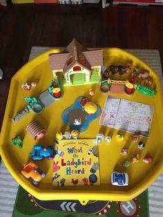 """What the ladybird heard"" tuff tray Play School Activities, Eyfs Activities, Nursery Activities, Toddler Learning Activities, Spring Activities, Infant Activities, What The Ladybird Heard Activities, Tuff Tray Ideas Toddlers, Story Sack"