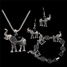 Elephant Necklace With Earrings, and Bracelet