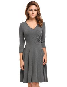 V-Neck 3/4 Sleeve High Waist Solid A-Line Casual Dress