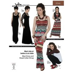 Maxi Dress and Shawl-Collar Shrug Jalie Sewing Pattern 3246.