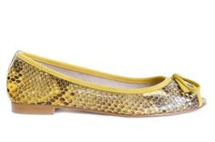 Yellow is a house favourite here. Soft leather peep toe flats in yellow snake print.