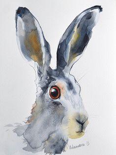Hare small watercolor painting - original artwork. Unique gift. Adorable gray jackrabbit, cute bunny watercolour picture. Contemporary art.