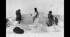 Building an Eskimo igloo in 1924, real people setting up house in the North Pole region. Photo #12 by Frank Kleinschmidt via Library of Congress