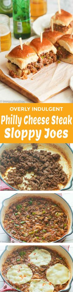 Philly Cheese Steak Sloppy Joes – a tasty, crowd favorite sandwich made with ground beef, onions, ketchup, Worcestershire sauce and other seasonings, and served on a hamburger bun. Perfect for parties, tailgates, game day or backyard barbecues. Easy, tasty and irresistible! Game day is getting closer and with that in mind …