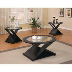 Coaster 3-Piece Table Set Rich Black Finish - Walmart.com  sc 1 st  Pinterest & Coster Living Room Inspiration Round Table Set | Living Room Table ...