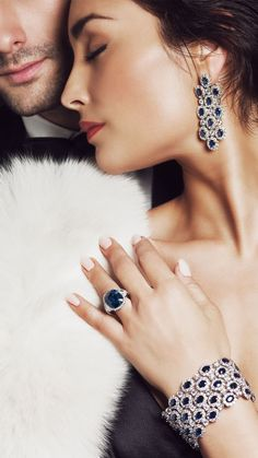Sapphire, Diamond and Platinum Jewels Romantic Couples, Cute Couples, Romantic Photos, Black Tie Affair, Jewelry Photography, Love Couple, Fine Jewelry, Jewelry Model, Bling