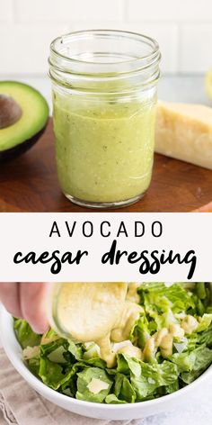Avocado Caesar Dressing Looking for a healthy caesar salad dressing? This avocado caesar dressing uses avocado instead of eggs so it's still super creamy and flavorful, but low in calories and fat. Less than 60 calories per serving! Salad Dressing Recipes, Salad Recipes, Low Calorie Caesar Dressing Recipe, Avocado Salad Dressings, Avocado Oil Dressing Recipe, Easy Ceasar Salad Dressing, Homemade Healthy Salad Dressing, Smoothie Recipes, Vegetarian Cooking